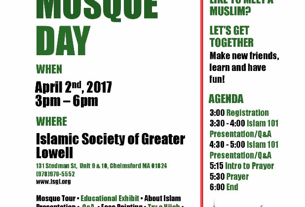 You're Invited: Islamic Society of Greater Lowell Open Mosque Day