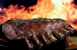 Lamb on grill